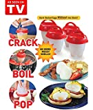 Egg Cooker Hard & Soft Maker - BPA Free - Non Stick Silicone - Poacher - Boiled - Steamer - Eggies AS SEEN ON TV - 6 Pcs - Park