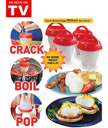 Egg Cooker Hard & Soft Maker, BPA Free, Non Stick Silicone, Poacher, Boiled, Steamer, Eggies AS SEEN ON TV,6 Pcs - Park