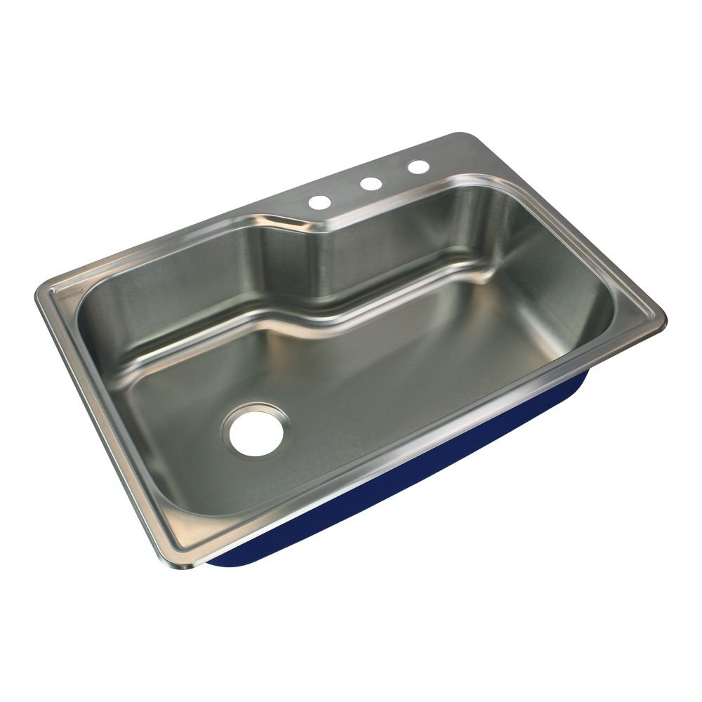 Transolid MTSO33229-3 Meridian 3-Hole Drop-in Single Bowl 16-Gauge Stainless Steel Kitchen Sink 33-in x 22-in x 9-in Brushed Finish