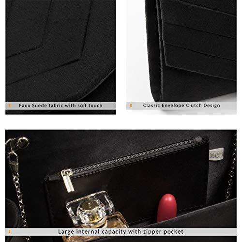Milisente Clutch Purses for Women Velvet Envelope Evening Bags Classic Shoulder Clutch Purse (Black) by Milisente (Image #3)