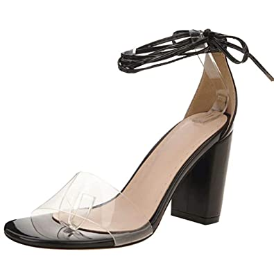 JYshoes Glitzer Sandalen Blockabsatz High Heels Sandaletten