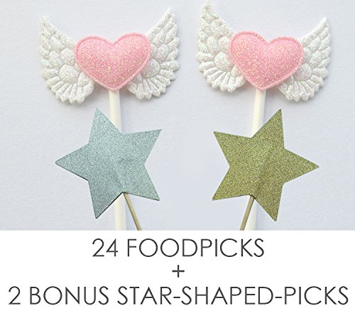 Value Pack- 24 Cupcake Toppers Picks- Various Themes (Angel Wings) (Decorations Angels)