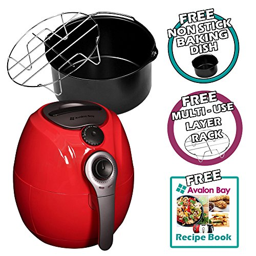 Avalon Bay Air Fryer 3.7 Quart Capacity, Healthy Fried Food, Includes Airfryer Baking Set and Recipe Book, AB-Airfryer100R Red