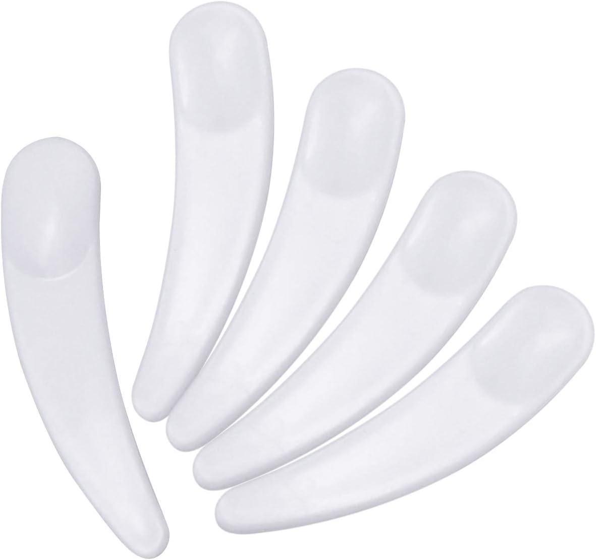 HQdeal 100 PCS Mini Spatules Cosm/étiques en Plastique Jetable Courb/é Maquillage Masque Spatule Cuill/ère 58 mm x 13 mm