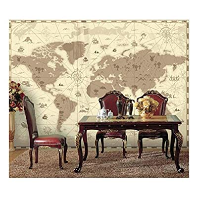 Brown Vintage World Map with Compass and Fun Cute Landscape and Mystical Animals Icons - Wall Mural, Removable Sticker, Home Decor - 100x144 inches