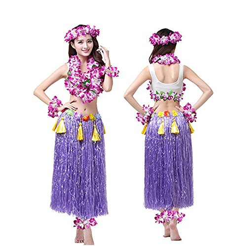 Rosemary Hawaiian Hula Dance Costume Ballet Show Cosplay Dress Skirt Garland for Adult 80CM Full Sets (Hawaiian Dress Costume)