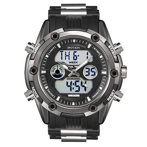 - Men Watch Sport Analog Digital Casual Military Watches for Man Chronograph Alarm Backlight with Silicone Band