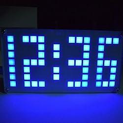 Qisuw DIY Alarm Clock Kit - Large Size Lattice Touch Clock Brightness Adjustable -DS3231 (Blue)