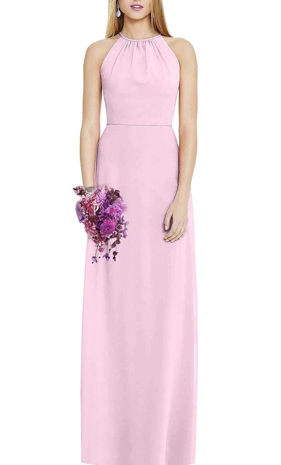 Baby Pink FeiYueXinXing Women's Halter Neck ALine Prom Ball Gowns Long Evening Bridesmaid Guest Dresses
