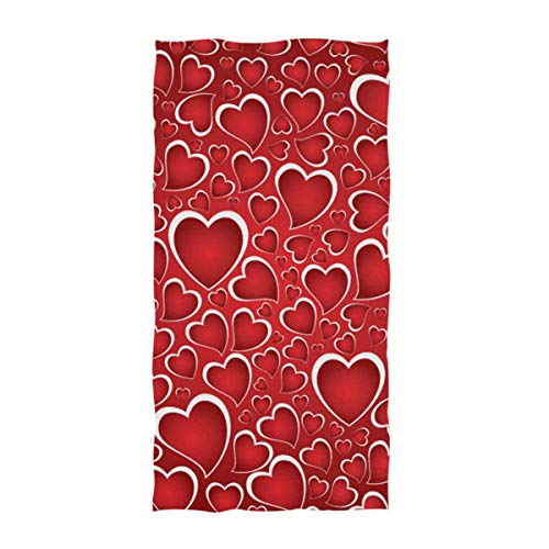 Naanle Beautiful Red Hearts Mother's Day Valentine's Day Wedding Pattern Soft Guest Hand Towels for Bathroom, Hotel, Gym and Spa (16