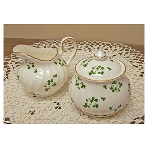 Shamrock Fine Bone China - Sugar and Creamer Set - Covered Sugar (Fine China Covered Sugar Bowl)
