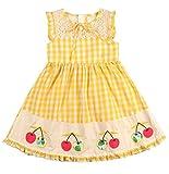 Sharequeen Princess Dresses Sleeveless Cotton Ruffles Hem Short A-line Dress Girls 2-10t SQ8809 (7-8 Years, Yellow)