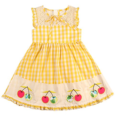 Sharequeen Girl's Appliqued Dress Sleeveless Cotton Kids Holiday Dresses SQ8809 (3-4 Years, Yellow) ...