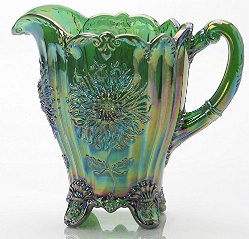 Dahlia Pattern Water Pitcher - Mosser Glass (Hunter Green Carnival)