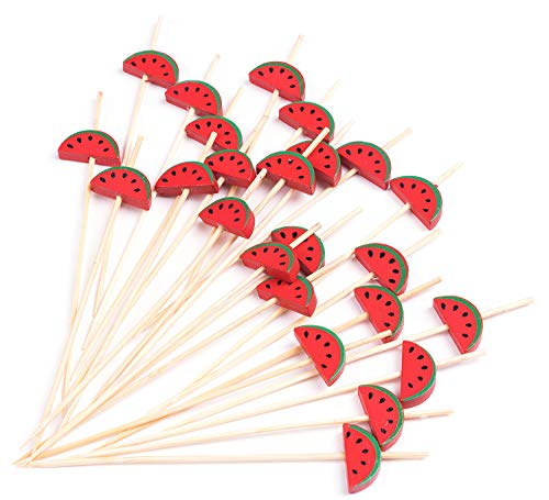 PuTwo Cocktail Picks Handmade Bamboo Toothpicks 100pcs 4.7' in Watermelon Decor