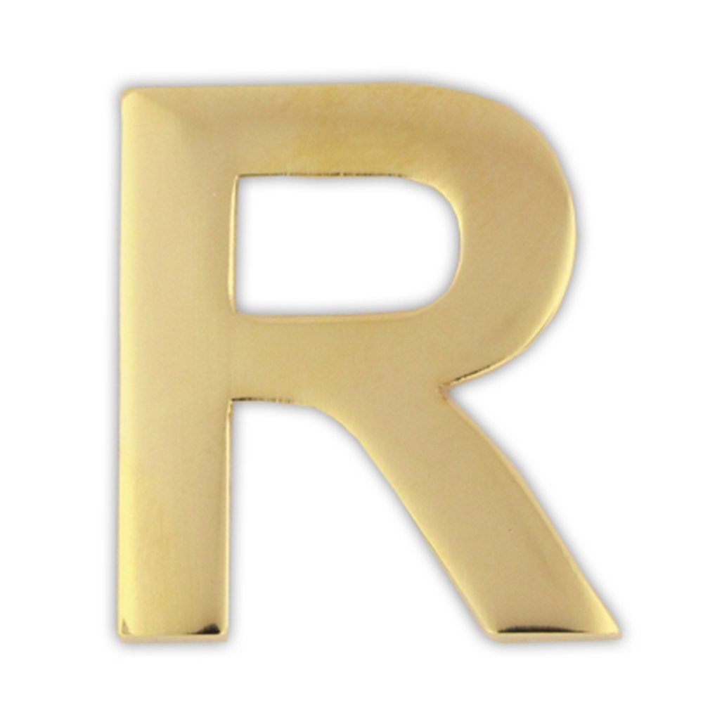PinMart's Gold Plated Alphabet Letter R Lapel Pin