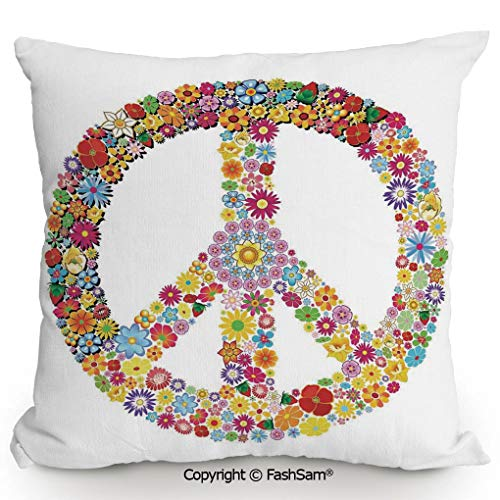 FashSam Throw Pillow Covers Floral Peace Sign Summer Spring Blooms Love Happiness Themed Illustration Print for Couch Sofa Home Decor(14
