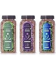 Zen Rituals Bath Salt Set – Lavender Pink Himalayan Salt, Mint Pink Himalayan Salt with Minerals and Eucalyptus Pink Himalayan Salt with Minerals – Bundle Pack 3 Bottles, 3 KG