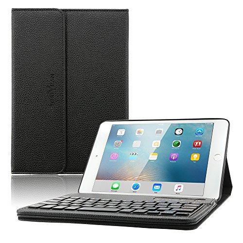 iPad Mini 4 Keyboard Case ,Boriyuan iPad Mini Smart Case Stand Folio Leather Cover with Detachable Wireless Bluetooth Keyboard and Screen Protector for Apple iPad Mini 4(Model:A1538/A1550) - Black