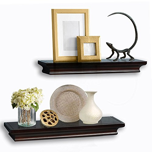 AHDECOR Floating Shelves Wall mounted Ledge Dark Brown Finish (4 Inches Deep, Set of 2 pcs)