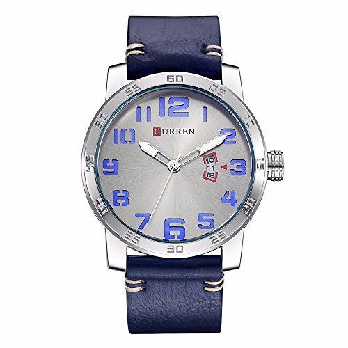 CURREN 8254 (Blue) Men's Sports Waterproof Leather Strap Date Good Quality Wrist Watch Digital Solar Bracelet