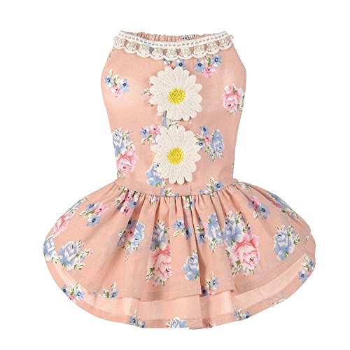 - Puppy Dog Dress Daisy Flower Gauze Bow Tutu Dress Lace Skirt Princess Clothes Pet Only for Small Dog Apparel Clothes