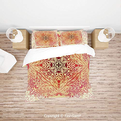 FashSam Luxury 4 Pieces Duvet Cover Bedding Set Hand Drawn Doodle Style Flowers Swirls Ivy in Square Shape Image for Family(Queen)