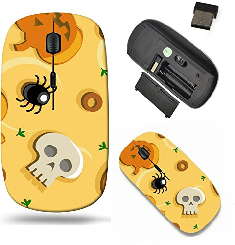 Liili Wireless Mouse Travel 2.4G Wireless Mice with USB Receiver, Click with 1000 DPI for notebook, pc, laptop, computer, mac book ID: 27669942 Halloween pizza seamless background with pumpkins skulls -