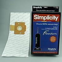 6-Pack Simplicity Genuine HiFlow HEPA Bags for: Freedom/Riccar Models #F3300, F3400, F3500, F3600, & SF1