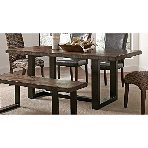 Rectangular Trestle Dining Table (Coaster 121641 Home Furnishings Table, Vintage Brown/Black)
