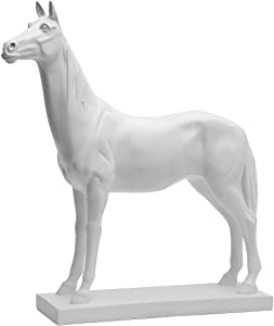 HAUCOZE Horse Statue Figurine Modern Sculpture Animal Decor for Home Accessories Gifts Giftbox White Resin 28cmH