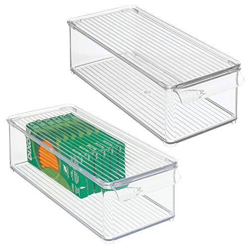 mDesign Small Stackable Plastic Storage Bin Box with Lid and Handle- Organizer for Office Supplies, Paperclips, Highlighters, Dry Erase Markers, Sticky Notes, Memo Pads – 2 Pack – Clear