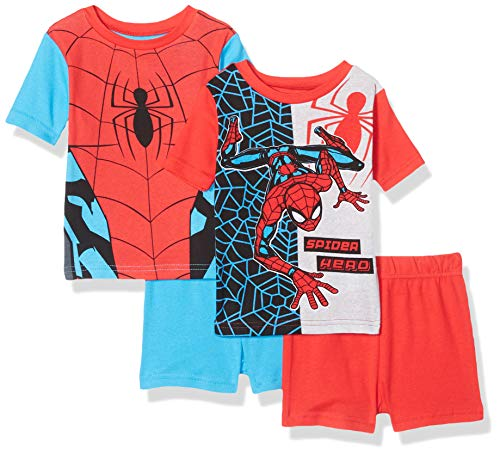 Marvel Boys' Big Spiderman 4-Piece Cotton Pajama Set, Spidey red, 10