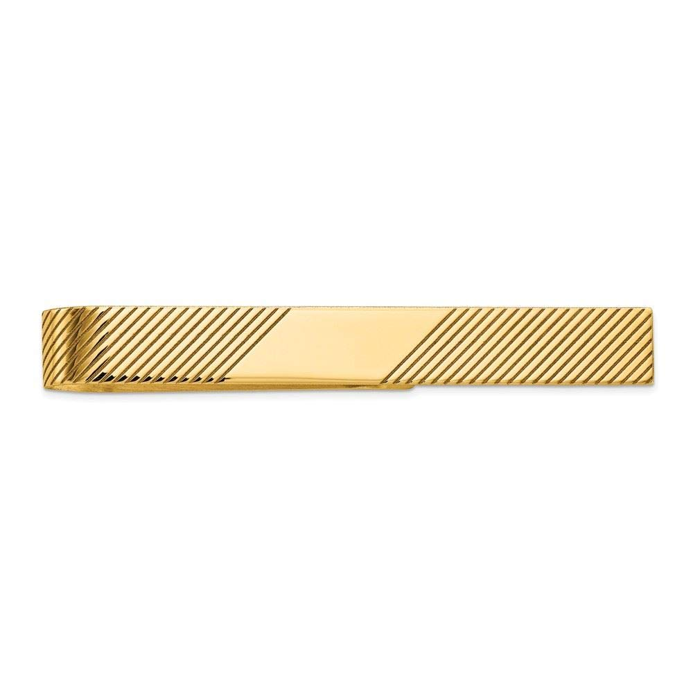 14K Yellow Gold Polished Engravable Tie Bar Clip
