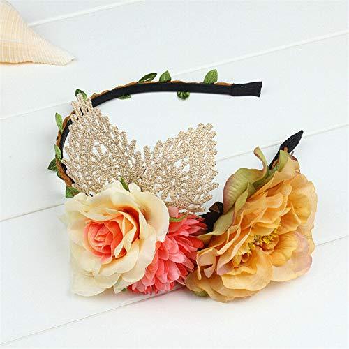 (MOPOLIS Women Girls Flower Boho Floral Bridal Headband Garland Wedding Hairband Festival | Color - Light Coffee)