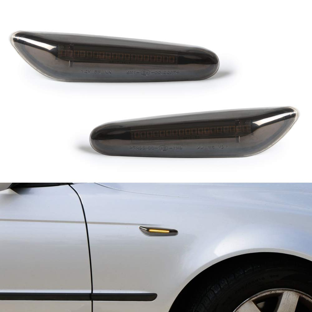 Smoke Side Indicator Clear Glass Compatible for BMW 1 Series E81 E82 E87 E88 3 Series E90 E91 E92 E93 E46 5 Series E60 E61 X1 X3