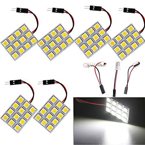 EverBright 6-Pack Super White 240lums 3th Generation Energy-saving 5050 12-SMD LED Panel Dome Light Auto Car Interior Reading Plate Lamp Roof Ceiling Interior Bulb With T10 / BA9S / Festoon Adapters (