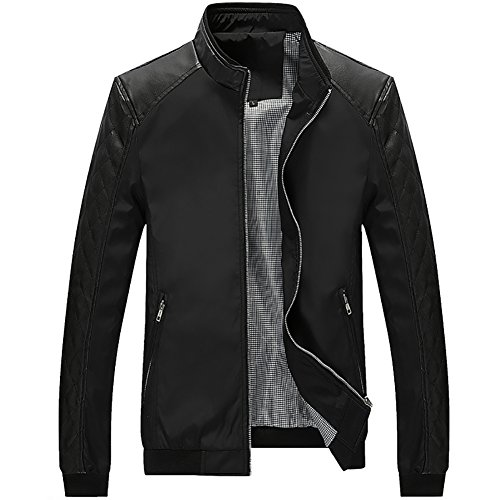 (Kolongvangie Faux Leather Stand Up Collar Winter Biker Jacket Slim Fit,Black,X-Small)