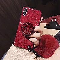 """KeKeYM Airbag Etui, Pop Up Airbag Ständer Halter Bling Glitterfolie Diamant Fuzzy Ball Wristband Strap Soft Gel Schutzhülle für iPhone XS (Rot, für iPhone X iPhone 10 5.8"""")"""
