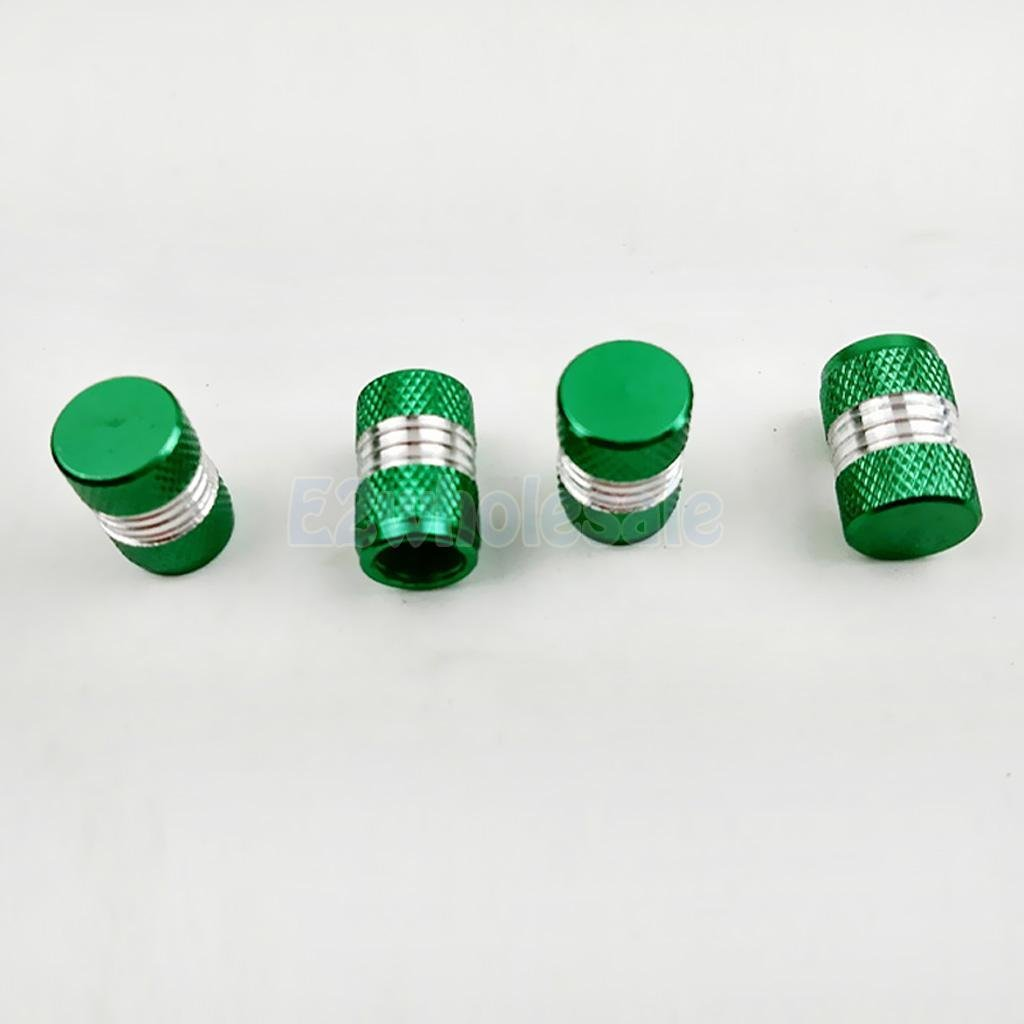 4PCS CAR ALUMINUM TIRE/RIM VALVE/WHEEL AIR PORT DUST COVER STEM CAPS GREEN by e2wholesale (Image #1)