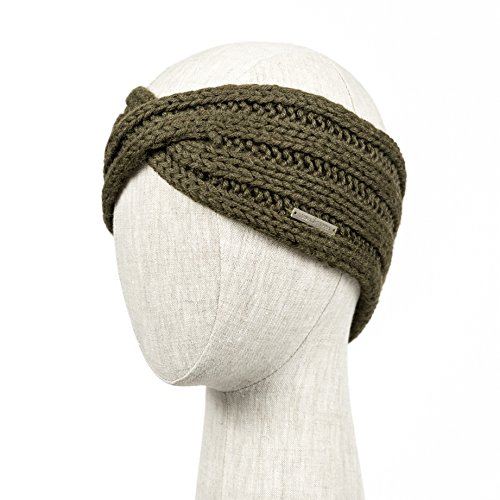 POSITANO Handmade Knitted 100% Baby Alpaca Headband Ear Warmer for Women (Olive)