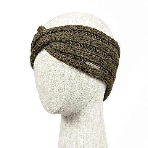 POSITANO Handmade Knitted 100% Baby Alpaca Headband Ear Warmer for Women (Olive)