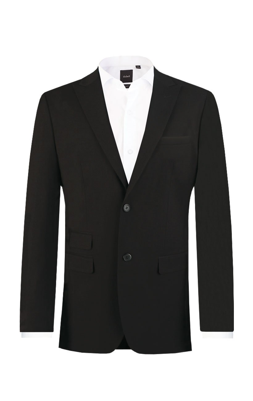 Dobell Mens Black Travel/Performance Tailored Fit Two Button Suit Jacket, 40R