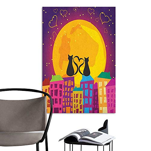 Brandosn Self Adhesive Wallpaper for Home Bedroom Decor Animal Cats on The Roof with Heart Shaped Tales Watching The Moonlight at Night in Town Purple Orange Corridor Walkway Wall W32 x H48 -