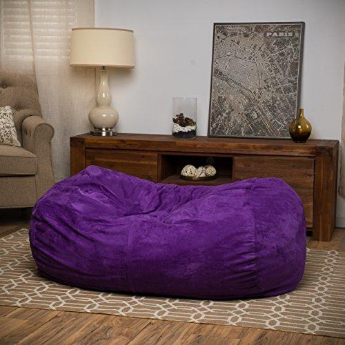 Cassell Purple Fabric 4-foot Lounge Beanbag Chair