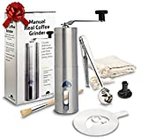 Manual Coffee Grinder Travel Companion for Home & Camping. Carry Bag, Measuring Scoop & Bag Clip. Brushed Stainless Steel, Ceramic Blade, Conical Burr Mini Mill, Stencil. Great Gifts for Coffee Lovers