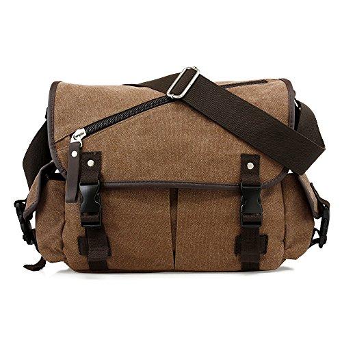 Bag School Shoulder Canvas Vintage Crossbody Military Satchel Bag Laptop Coffee ()