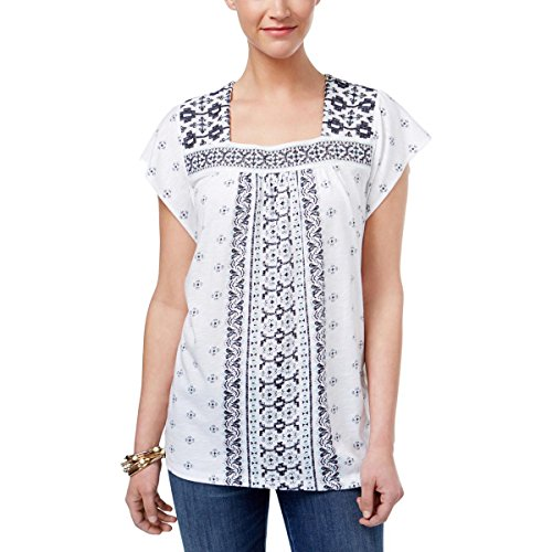 (Style & Co. Womens Printed Short Sleeves Pullover Top White S)
