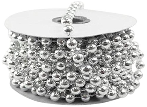 Homeford 2080SLVE MOT Pearls Plastic Beads Garland Ribbon, Silver, 8mm by 8-Yard