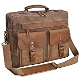Mens Messenger Bag 15.6 Inch Vintage Genuine Leather Briefcase Waterproof Waxed Canvas Laptop Computer Bag Large Leather Satchel Shoulder Bag Brown